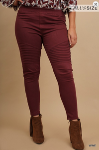 19.SAS Curvy Moto Jeggings - Burgundy