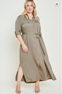 19.02.07H Army Green Tie Waist Dress- Curvy
