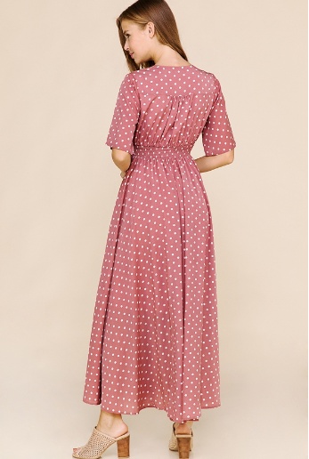 19.05.16C Faded Rose Polka Dot Maxi- Nursing friendly