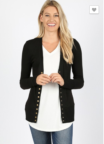 Sandra Snap Button Cardigan - Eggplant or Black 19.10.24