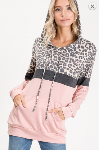 Lucy Leopard Print Hoodie in Blush and Black 20.01.30E
