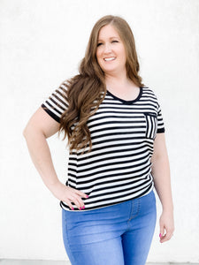 Angie Black & White Stripe Top With Pocket-Curvy 19.06.20G