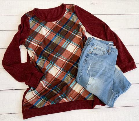 Curvy Plaid Front Burgundy Sweater - 19.12.05D
