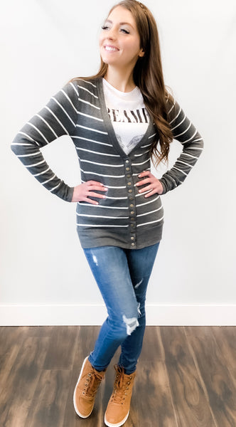 Forever Stripe Snap Cardigan-Grey 19.12.12E