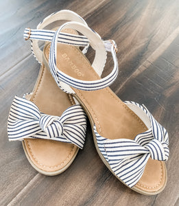 Bella Blue Stripe Bow Sandal 19.07.11D