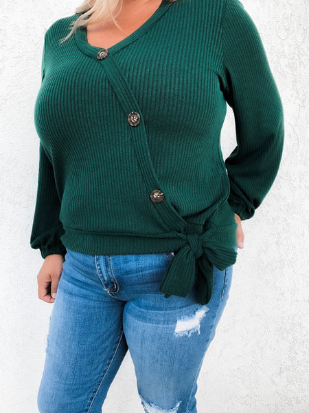 Ellen Forest Green Side Button & Tie Curvy Top 19.09.17A
