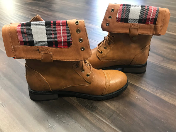 Camel Flannel Military Boot