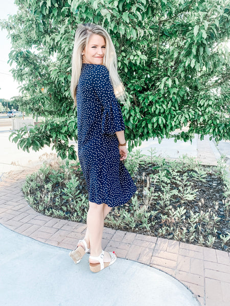 19.06.04E Navy Polka Dot Dress