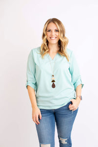 19.02.21C Dusty Aqua V Neck Blouse