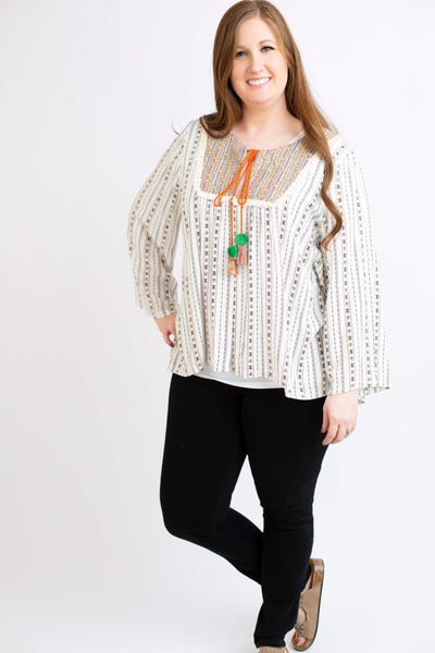 19.02.21F Cream Boho open Front Top with Woven Accent- Curvy