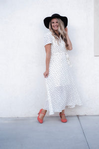 Shirley Cream Dress with Black Polka Dots 19.07.18B