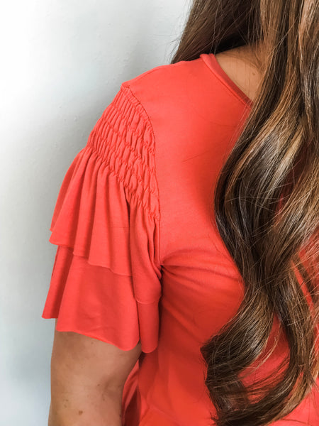 19.04.23B-Coral Smocked Sleeve Top-Curvy