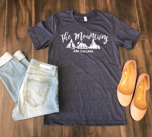 Market Apparel Designs-Mountains are Calling - Heathered Navy Tee