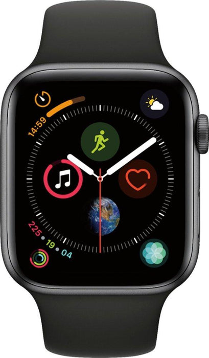 Apple - Apple Watch Series 4 (GPS), 40mm Space Gray Aluminum Case with Black Sport Band - Space Gray Aluminum