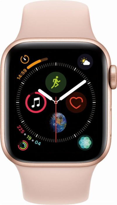 Apple - Apple Watch Series 4 (GPS), 44mm Gold Aluminum Case with Pink Sand Sport Band - Gold Aluminum