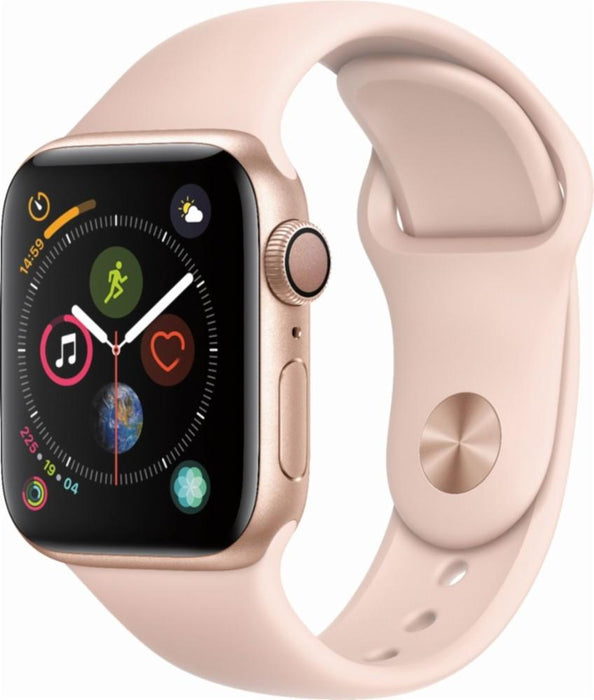 Apple - Apple Watch Series 4 (GPS), 40mm Gold Aluminum Case with Pink Sand Sport Band - Gold Aluminum