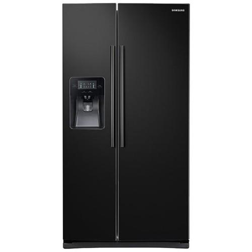 Samsung - 24.5 Cu. Ft. Side-by-Side Fingerprint Resistant Refrigerator with Thru-the-Door Ice and Water - Black stainless steel Model:RS25H5111SG/AA