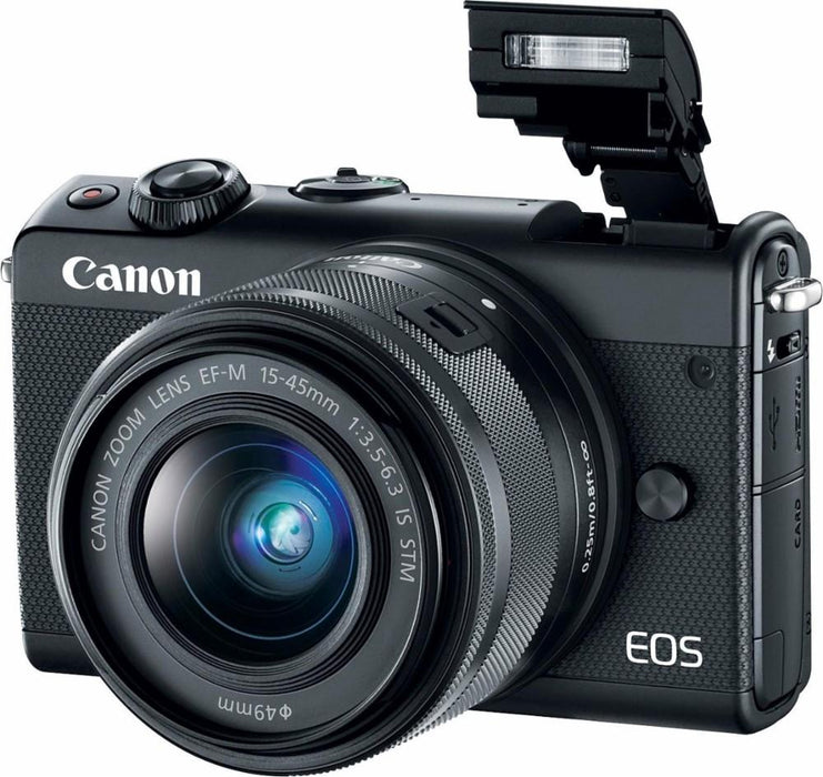 Canon - EOS M200 Mirrorless Camera with EF-M 15-45mm Lens - Black Model:3699C009