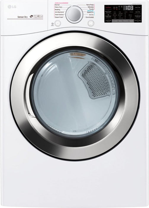 LG - 7.4 Cu. Ft. 12-Cycle Smart Wi-Fi Electric SteamDryer - Sensor Dry and TurboSteam - White Model:DLEX3700W