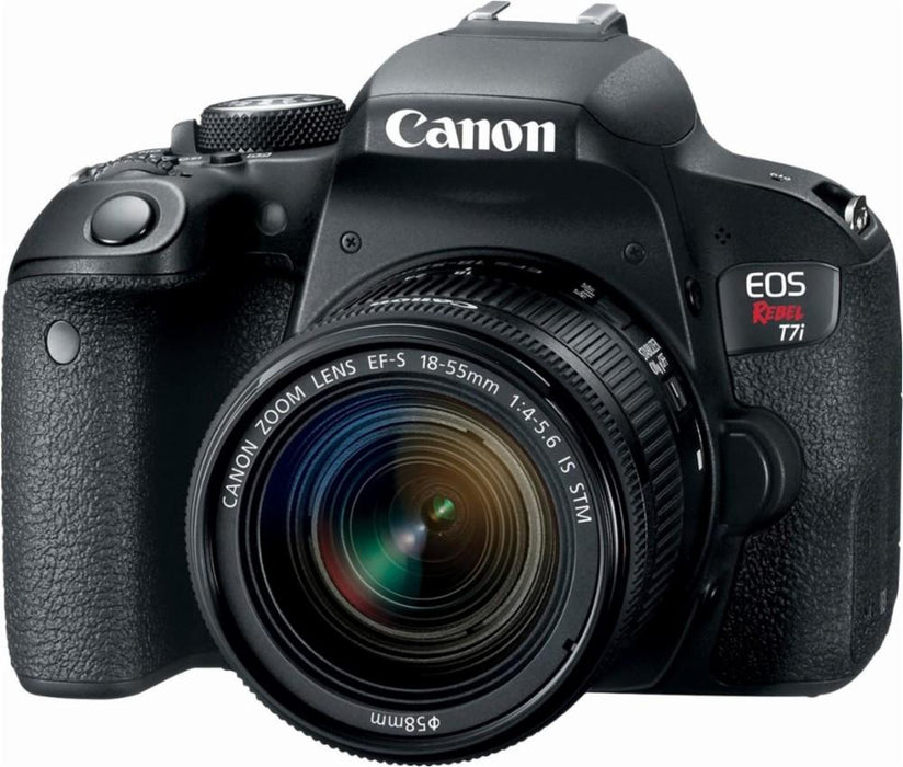 Canon - EOS Rebel T7i DSLR Camera with EF-S 18-55mm IS STM Lens Video Creator Kit - Black