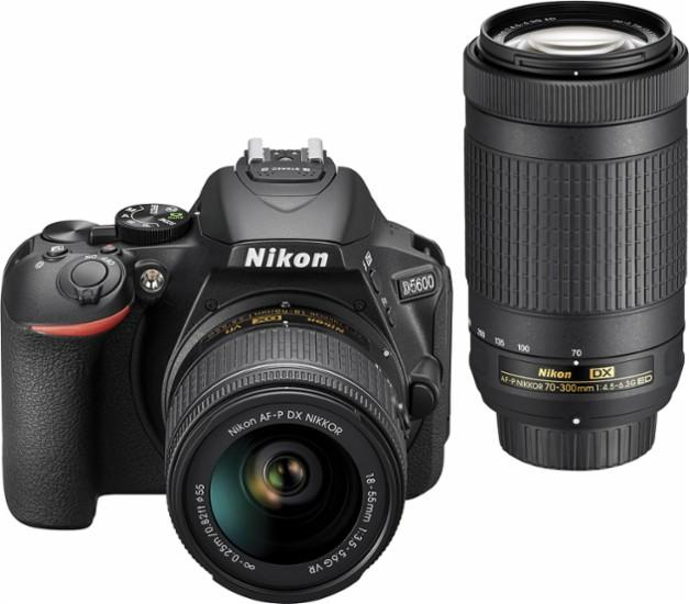 Nikon - D5600 DSLR Two Lens Kit with 18-55mm and 70-300mm Lenses - Black Model:1580