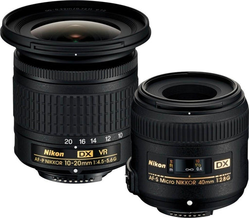 Nikon - AF-P DX NIKKOR 10-20mm f/4.5-5.6G VR Wide-Angle Zoom Lens and AF-S DX Micro NIKKOR 40mm f/2.8G Macro Lens for Nikon DSLR - Black Model:13534