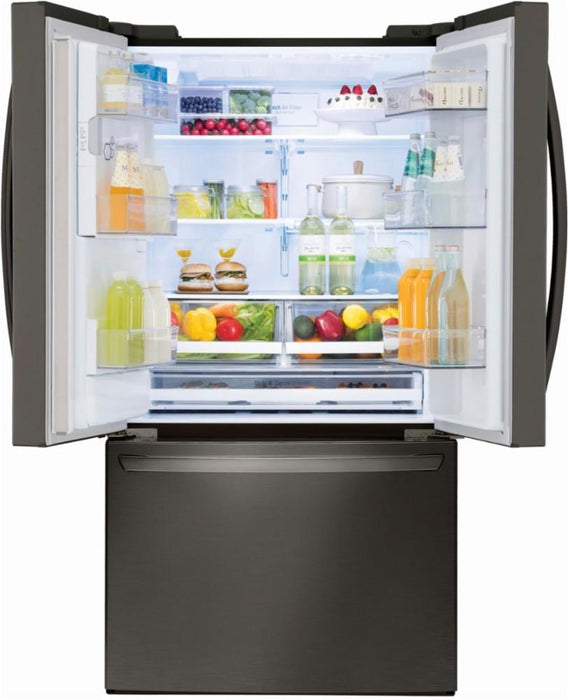 LG - 27.9 French Door Smart Wi-Fi Enabled Refrigerator - Black stainless steel Model:LFXS28968D