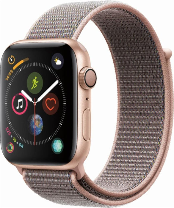 Apple - Apple Watch Series 4 (GPS), 44mm Gold Aluminum Case with Pink Sand Sport Loop - Gold Aluminum