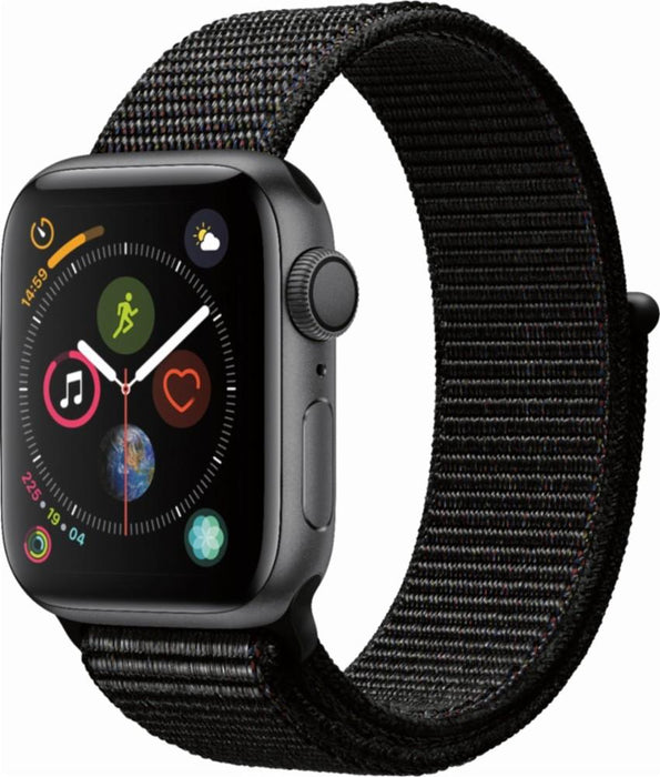 Apple - Apple Watch Series 4 (GPS + Cellular), 40mm Space Gray Aluminum Case with Black Sport Loop - Space Gray Aluminum