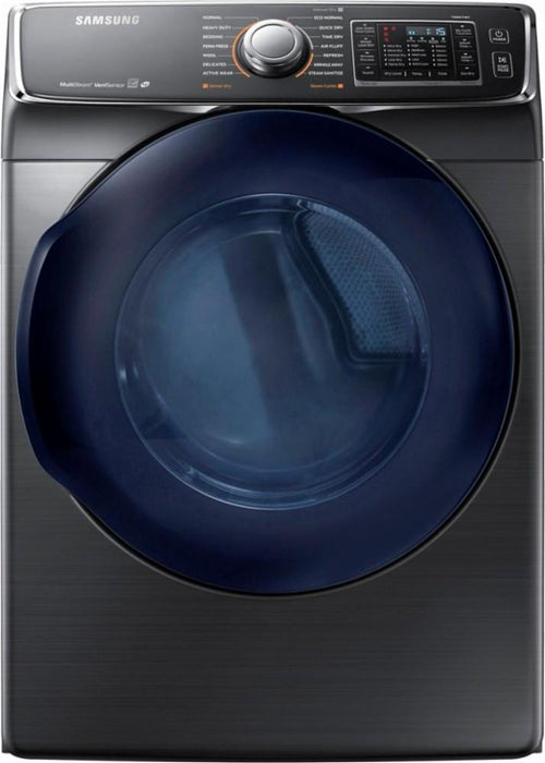 Samsung - 7.5 Cu. Ft. 14-Cycle High-Efficiency Electric Dryer with Steam - Black stainless steel