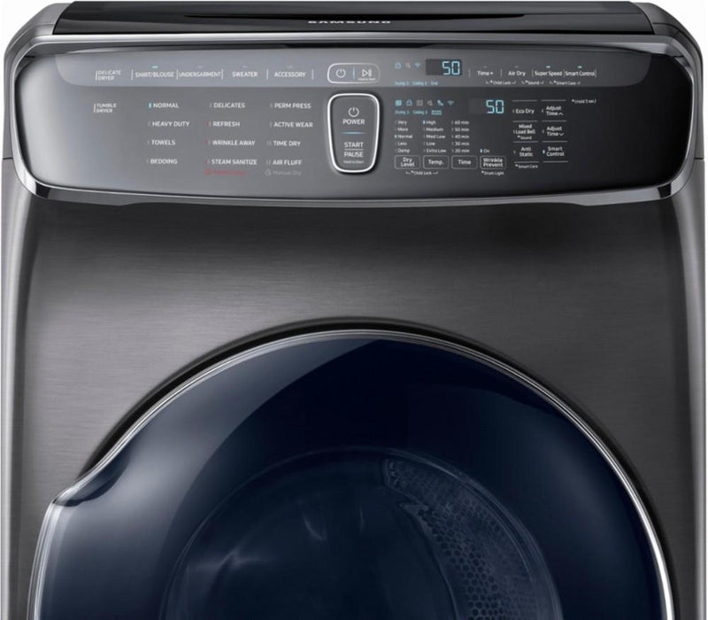 Samsung - 7.5 cu. ft. Capacity FlexDry Fingerprint Resistant Electric Dryer - Black stainless steel Model:DVE55M9600V