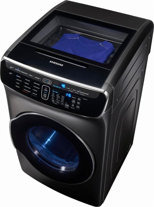Samsung - 7.5 cu. ft. Capacity FlexDry™ Electric Dryer - Black stainless steel