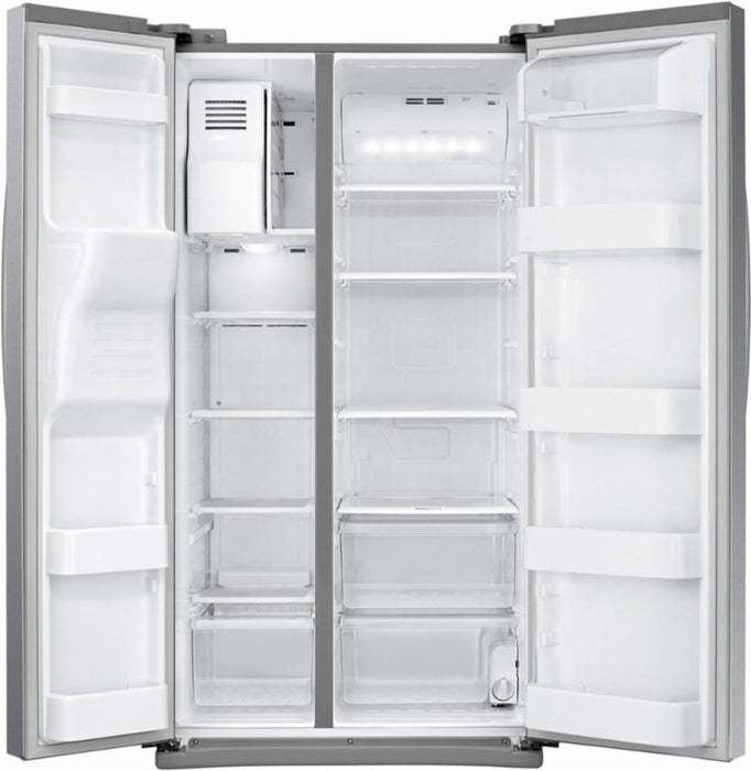 Samsung - 24.5 Cu. Ft. Side-by-Side Refrigerator with Thru-the-Door Ice and Water - Stainless steel Model:RS25J500DSR/AA