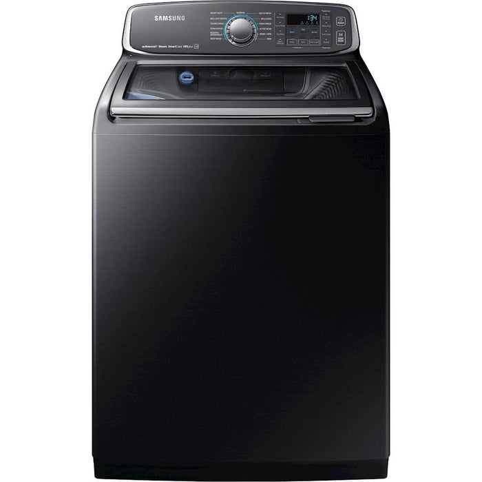 Samsung - Activewash 5.2 Cu. Ft. 13-Cycle High-Efficiency Fingerprint Resistant Top-Loading Washer with Steam - Black stainless steel Model:WA52M7750AV
