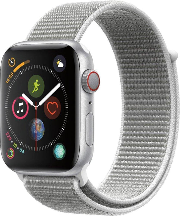 Apple - Apple Watch Series 4 (GPS), 44mm Silver Aluminum Case with Seashell Sport Loop - Silver Aluminum