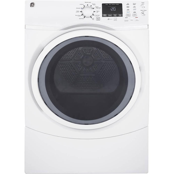 GE - 7.5 Cu. Ft. 13-Cycle Electric Dryer with Steam - White On White