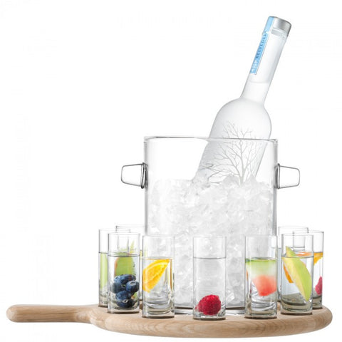 Paddle Vodka Serving Set & Oak Paddle L38.5cm Clear