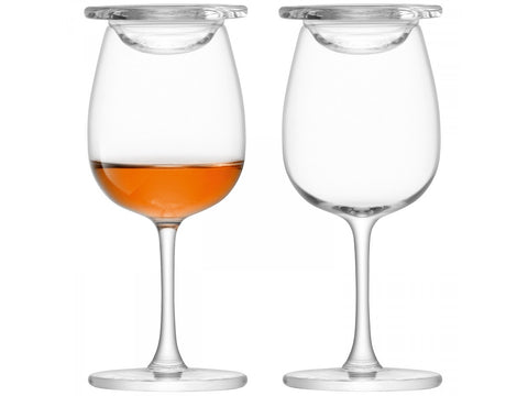 a pair of nosing glasses with covers
