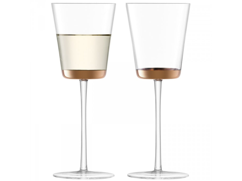 2 tall stemmed wine glasses