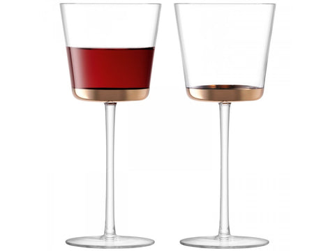 2 red wine glasses