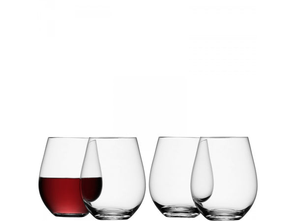 4 stemless wine glasses