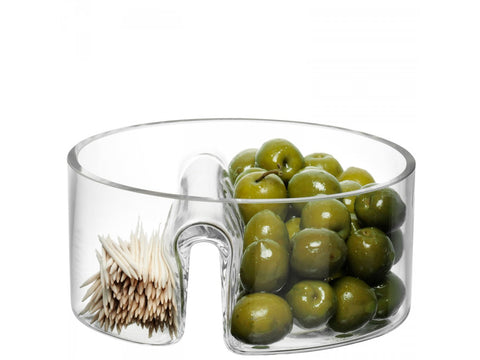 Glass bowl with olives