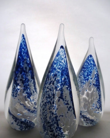Artists collection ; Winter Droplet hand blown glass paperweight