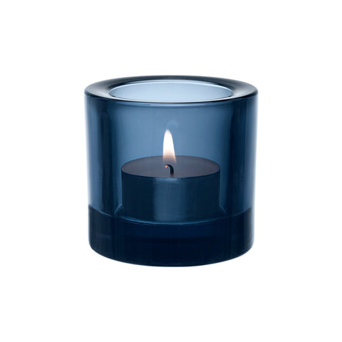blue glass candle holder