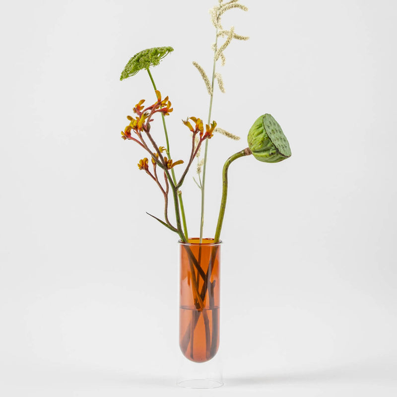 Flower Tube Vase - Tall - Amber
