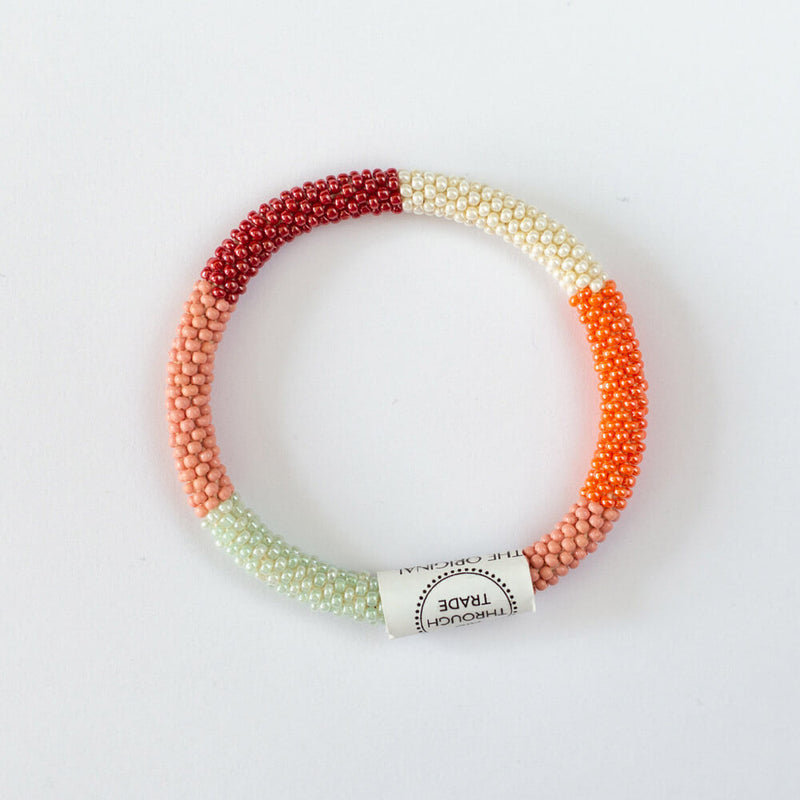 Nepal armbånd - orange/rosa/mint