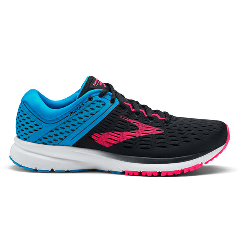 Black, blue and pink women's Brooks Ravenna Running shoe with 10mm drop
