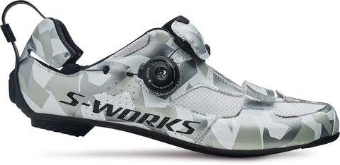 White Camoflage S-Works Trivent Triathlon Shoes with tri-specific closure system