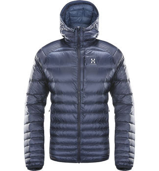 Hooded down jacket from Haglof in Tarn blue / Blue Ink