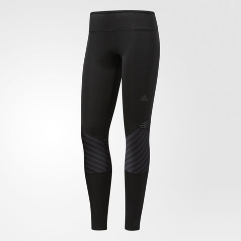 Black women's long running tights with mesh inserts
